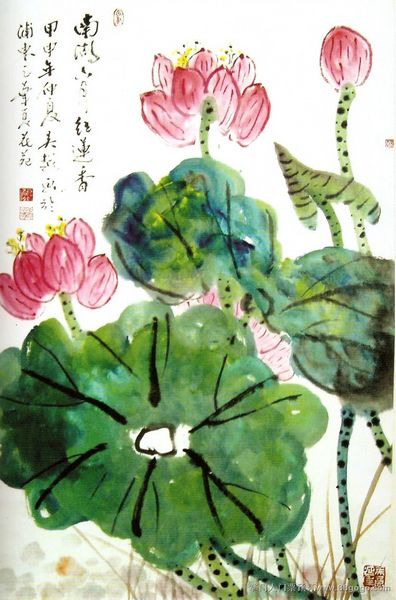 绿色手绘水墨荷花