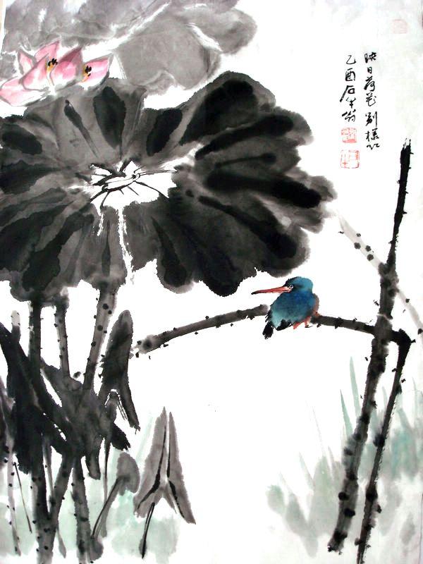 荷花翠鸟图 - 国画 - 当代书画名家网_国画家_油画家