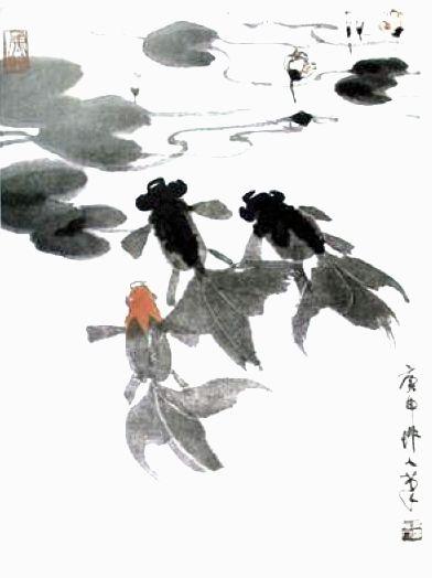 儿童国画金鱼的画法; 金鱼图;;