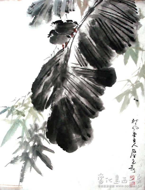 芭蕉八哥 - 国画 - 当代书画名家网
