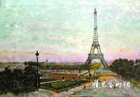 巴黎埃菲尔铁塔 布面油画
