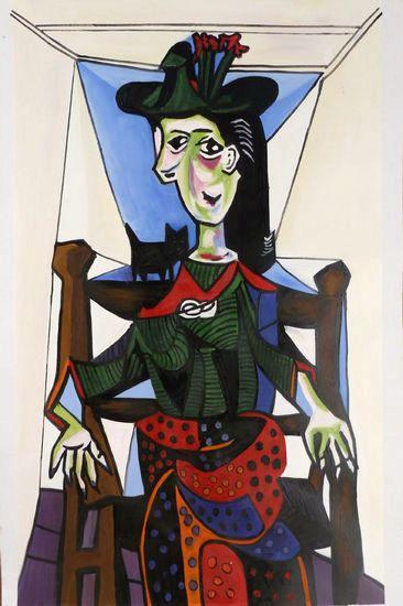 毕加索作品价格_①创作于1941年的《多拉·马尔和猫》,于2006年5月3日拍出9520万 ...