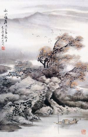 扬州国画院画家郑小珊说,秋天的色彩五彩缤纷,最能渲染秋天山水画氛围
