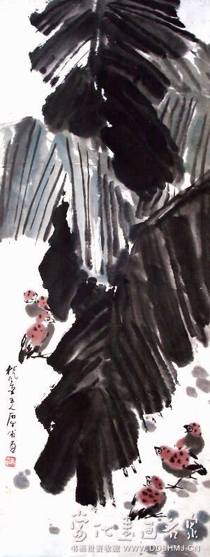 芭蕉麻雀 - 国画 - 当代书画名家网_国画家_油画家_家