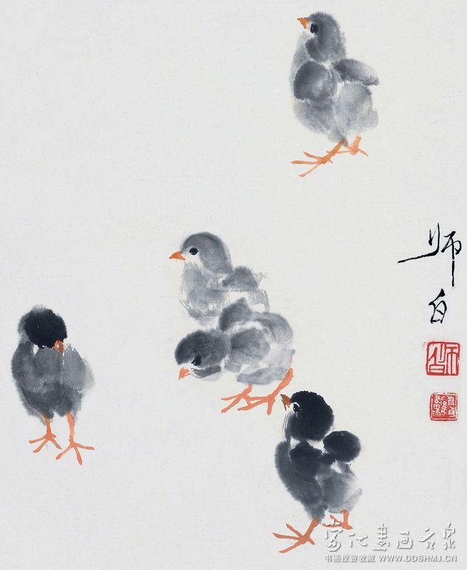 小鸡- 国画 - 当代书画名家网